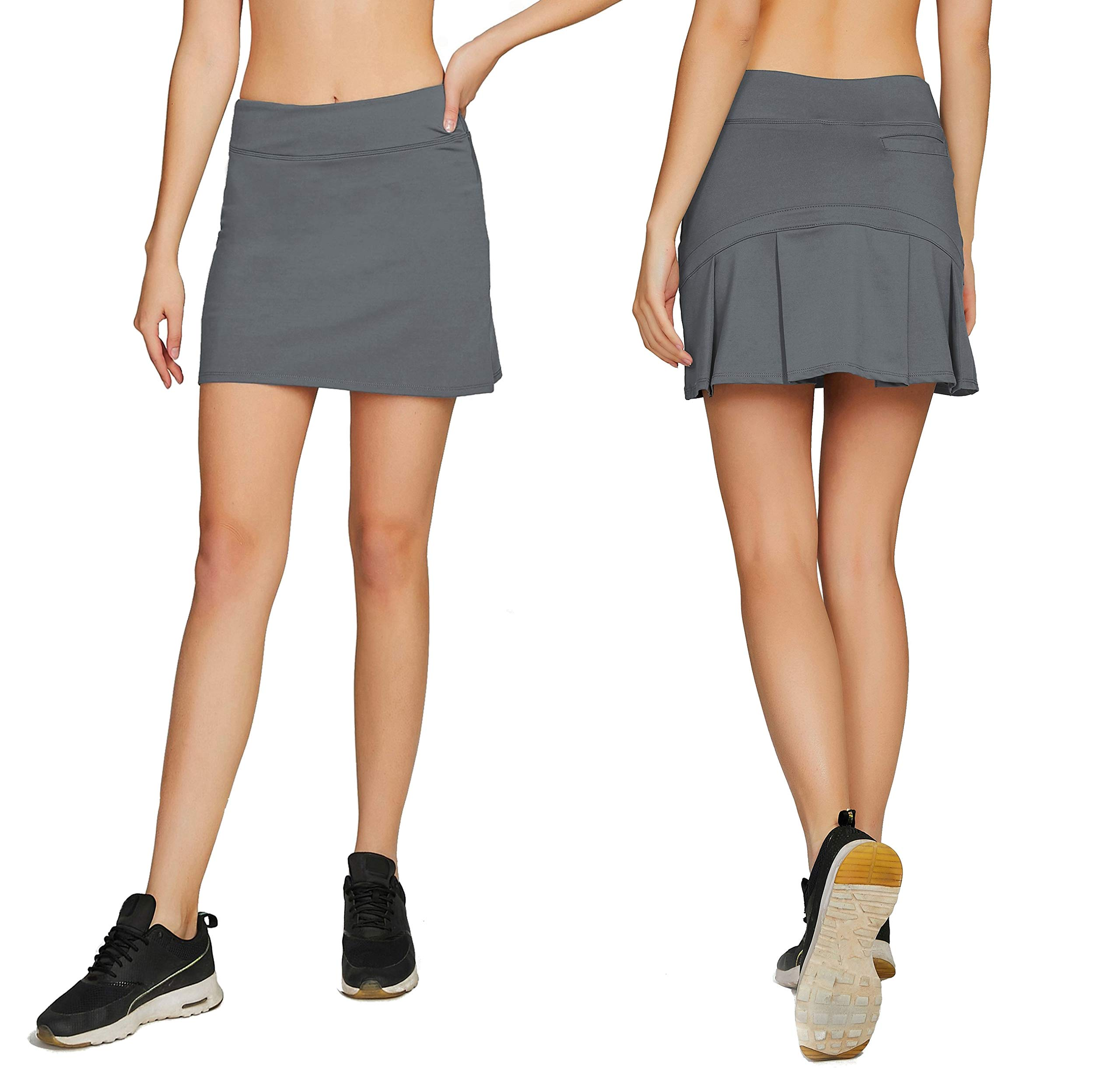 Women's Casual Pleated Tennis Golf Skirt with Underneath Shorts Running Skorts gy xs
