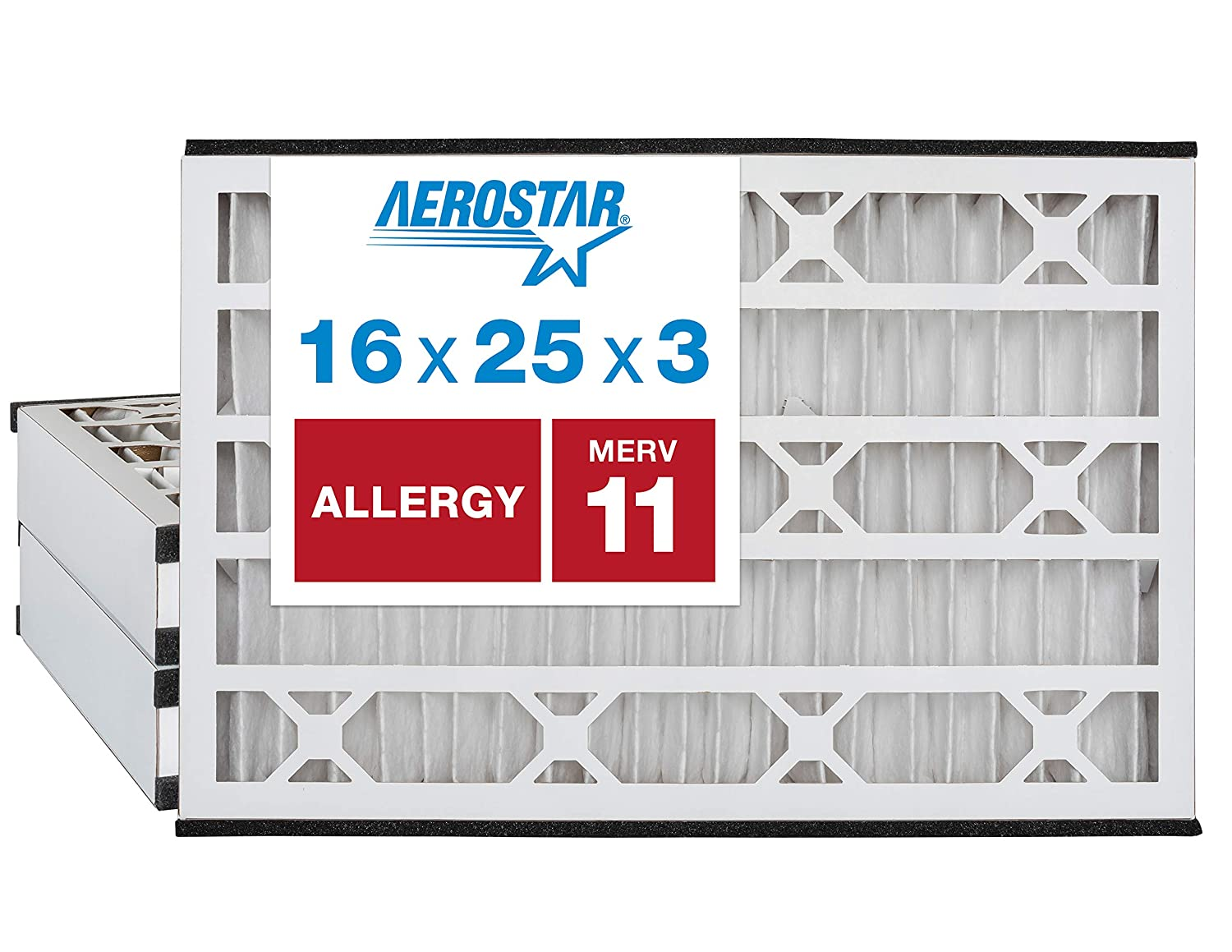 Aerostar Allergen & Pet Dander 16x25x3 MERV 11 Air Bear Replacement Pleated Air Filter, Made in the USA, 3-Pack