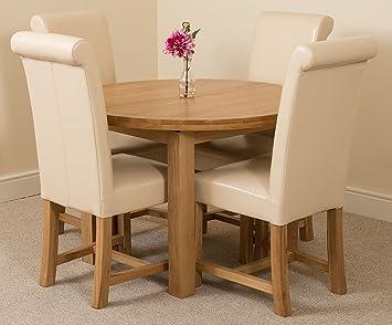 MODERN FURNITURE DIRECT Edmonton Solid Oak Round Extending Kitchen Dining Room Table 110 140