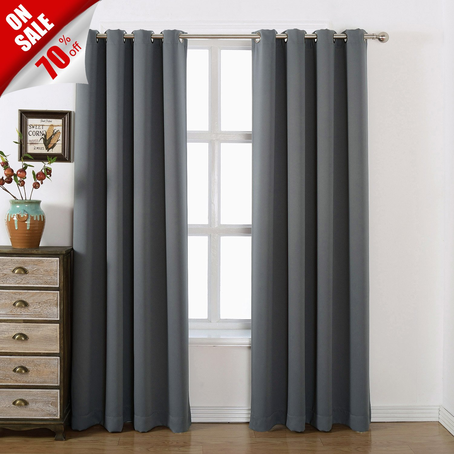 Grommet Top Blackout Curtains With Tie Back Charcoal Grey