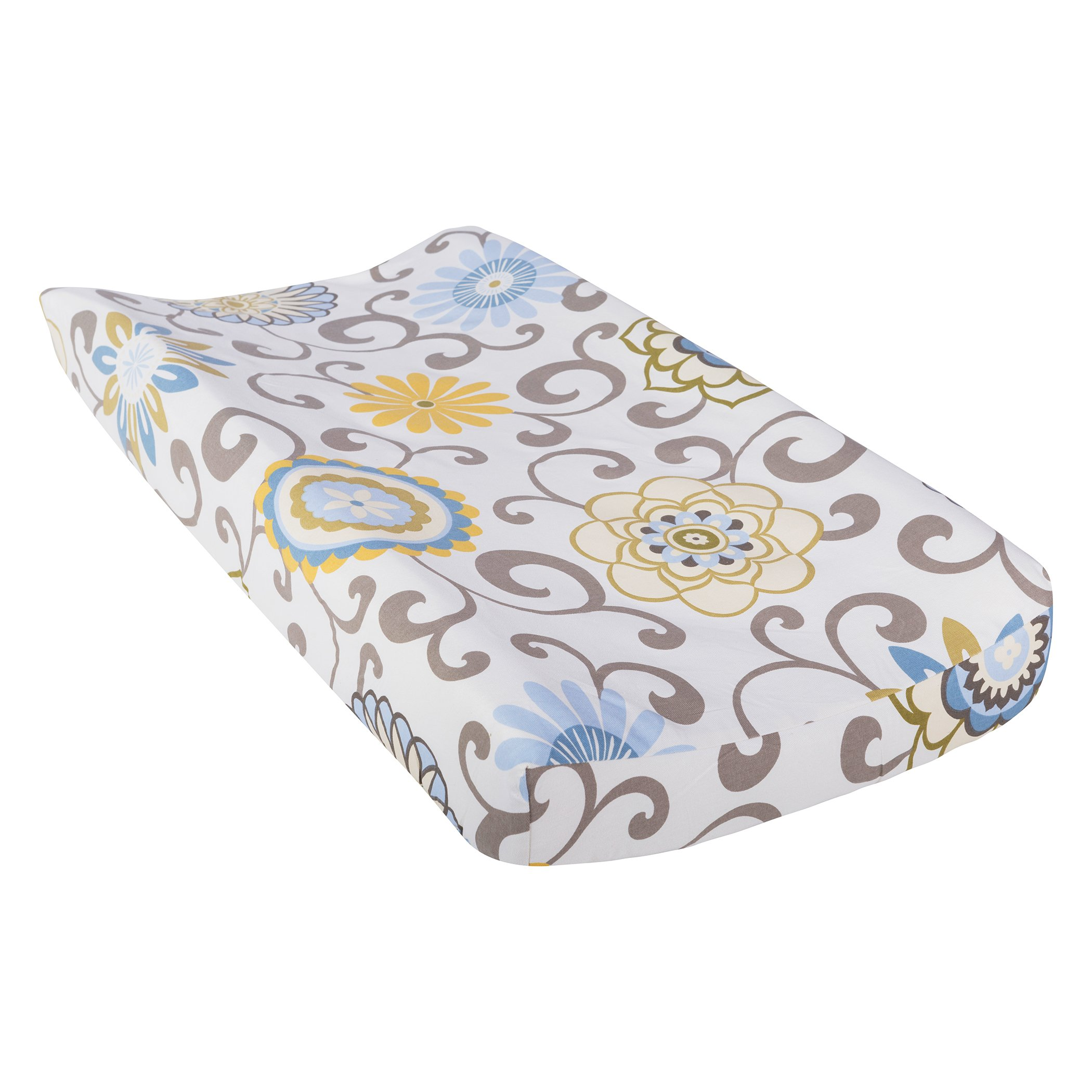 Trend Lab Waverly Baby Pom Pom Spa Changing Pad Cover, Blue/Cream/Green/Gray