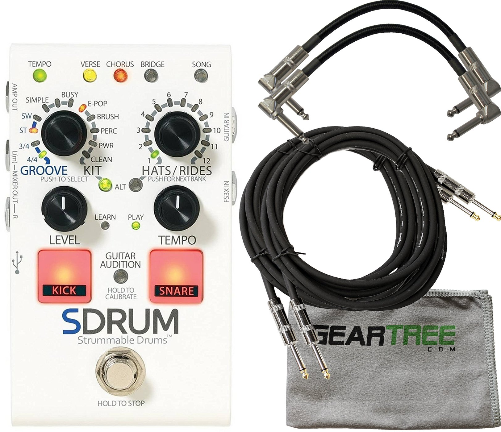Digitech SDRUM Strummable Drums Automatic Drummer Pedal w/ Cloth and 4 Cables