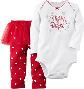 amazon com carter s baby girls christmas bodysuit tutu pant set
