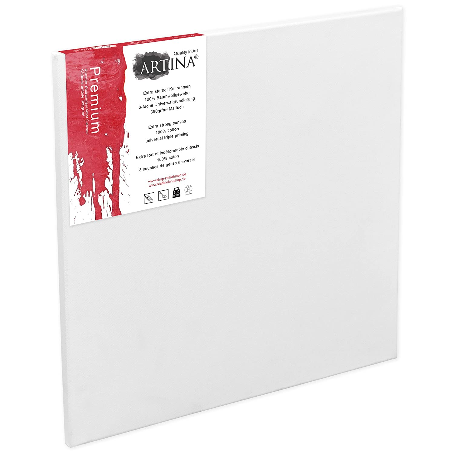 Artina Art Canvases 70 x 70 cm Stretched & Triple Primed Premium Quality Artist Blank Canvas Bulk 27 x 27 Inch