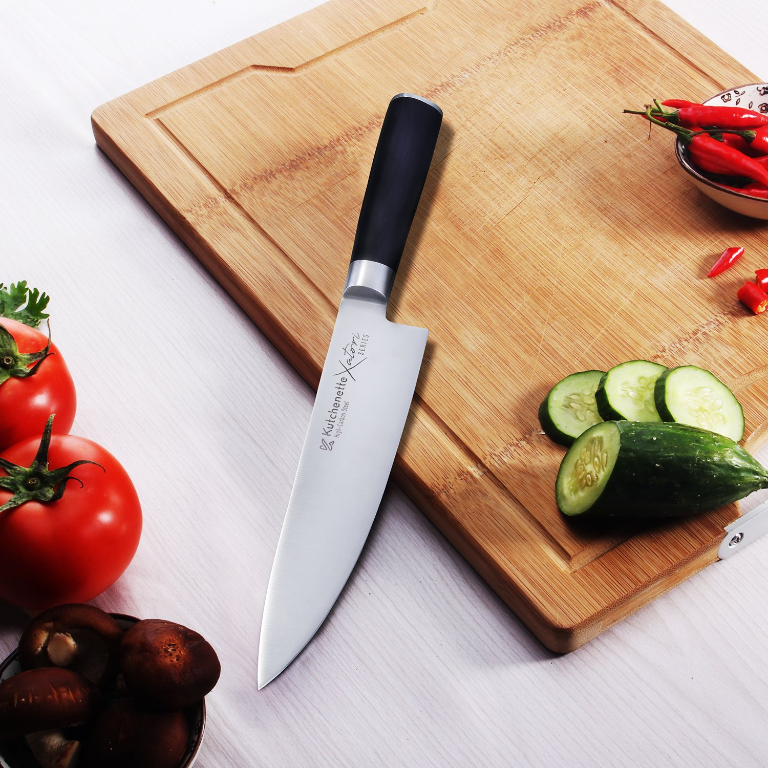 Sedge Chef Knife 8 Inch Professional Kitchen Knife Japanese High Carbon Stainless Steel With Black Pakkawood Handle With Case - Xatori Series by SEDGE (Image #4)