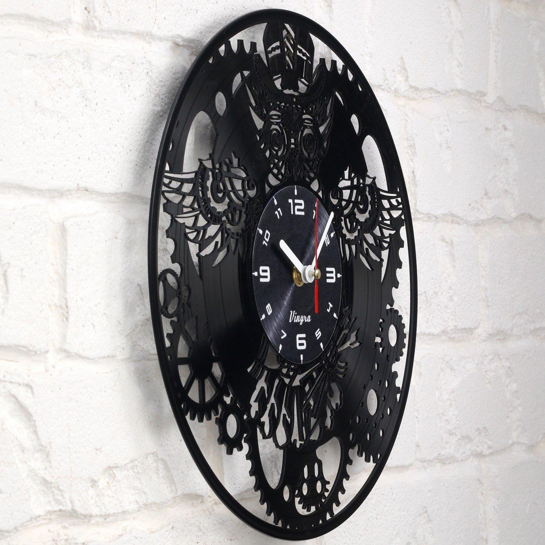 Steampunk Reloj de pared, diseño de búho de vinilo, diseño de búho steampunk con texto en inglés