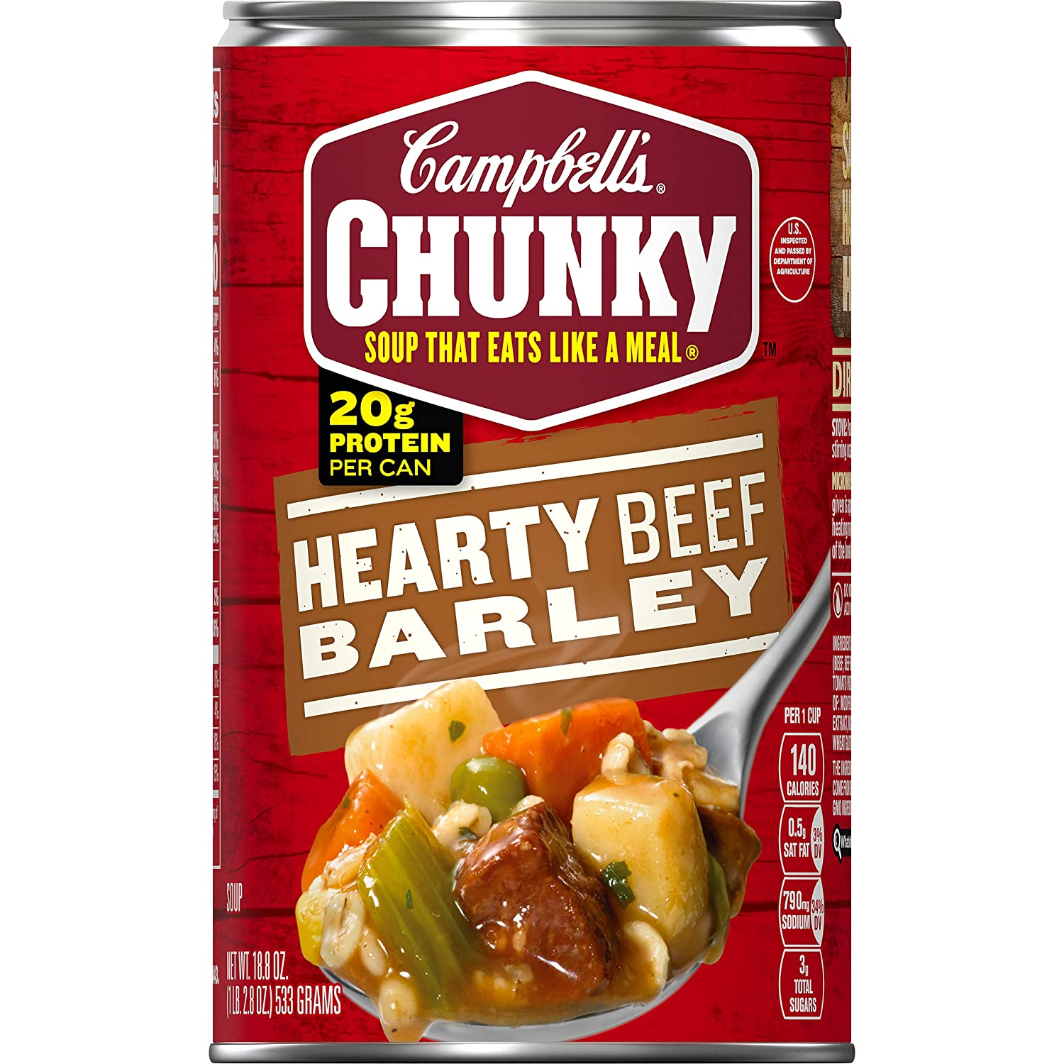 Campbell's Chunky Hearty Beef Barley Soup, 18.8 oz. Can