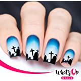 Whats Up Nails - Graveyard Nail Stencils Stickers Vinyls for Nail Art Design (2 Sheets, 40 Stencils Total)