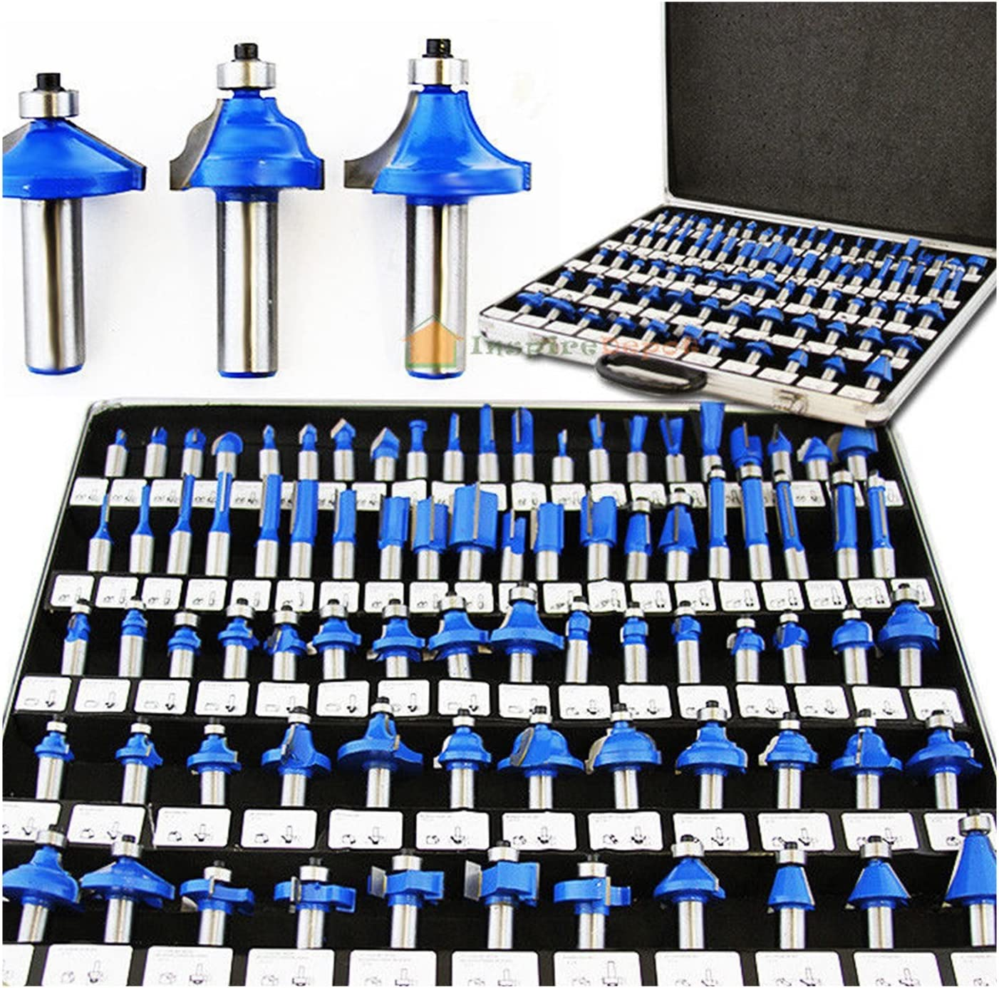 80 Pc Tungsten Carbide Router Bit Set 1//4 Shank W//3 Point Blades Power Tools