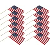 "US Stick Flag 12"" x 18"" with 24"" Wood Stick - Best Quality (12)"
