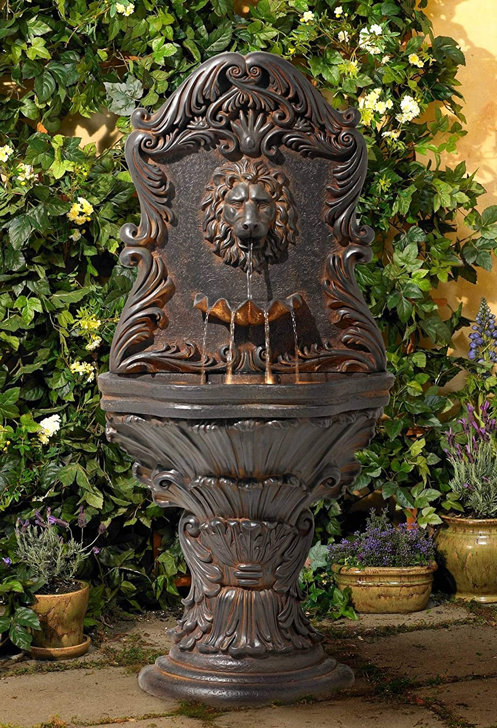 "John Timberland Acanthus Antiqued Outdoor Wall Water Fountain with LED Light 50"" Floor Imperial Lion for Garden Yard"