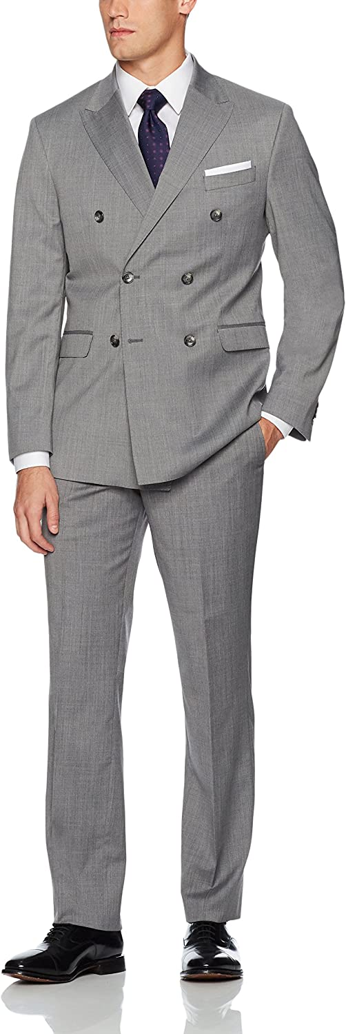 Kenneth Cole New York Men's Double Breasted Modern Fit 6 Button Suit