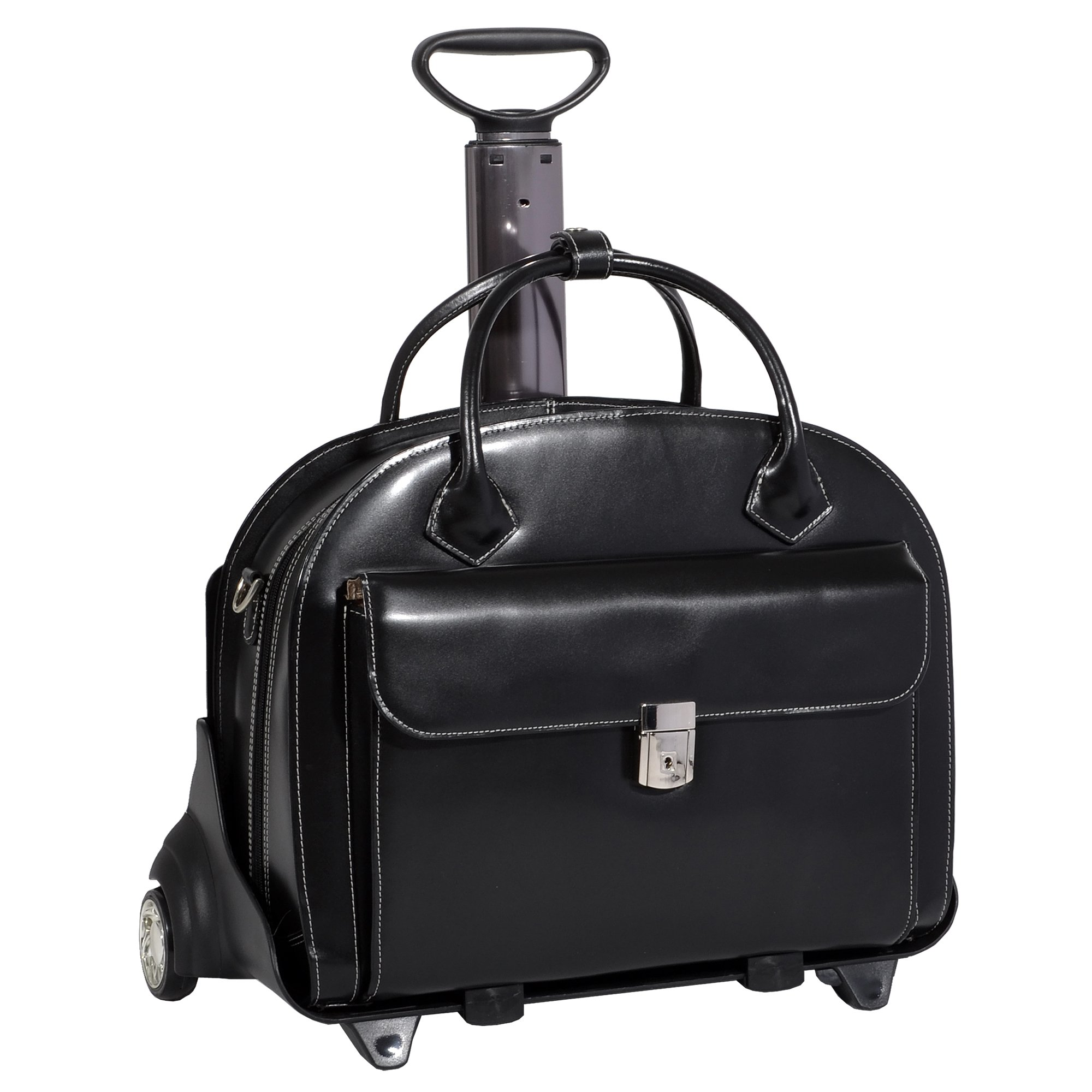 Mcklein USA 94365 Glen Ellyn, 15.4'' Leather Wheeled Ladies Briefcase, One Size, Black