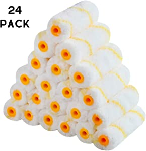 """Bates- Paint Roller Covers, 4"""" Roller Covers, Pack of 24, Covers for Paint Rollers, Naps for Paint Roller Brush, Small Roller Nap, House Painting Supplies, Covers for Roller Frame and Paint Roller Kit"""