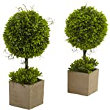 Nearly Natural Boxwood Topiary with Planter (Set of 2)