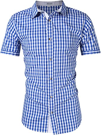 KOJOOIN Trachten Shirt Bianco Camisa Casual a Cuadros de Hombre Camisa de Manga Larga de Estilo Country Camisa Slim fit de algodón Bordado