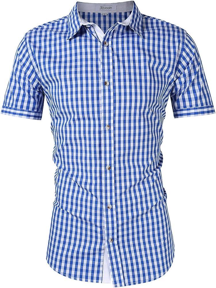 KOJOOIN Trachten Shirt Bianco Camisa Casual a Cuadros de Hombre Camisa de Manga Larga de Estilo Country Camisa Slim fit de algodón Bordado Azul - Manga cortax-Large: Amazon.es: Ropa y accesorios