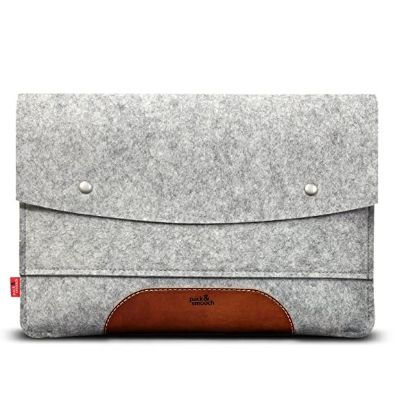 "Pack & Smooch Hampshire Sleeve + Smart Keyboard Cover For I Pad Pro 12.9""   Handcrafted In Germany With 100% Wool Felt And Vegetable Tanned Leather   Gray/Tan Light Brown by Pack & Smooch"