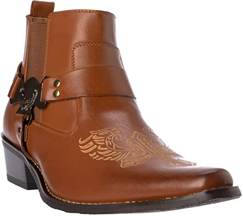 9342f740eb7 western10 Mens Western Style Cow-Boy Boots PU-Leather Dress-Shoes