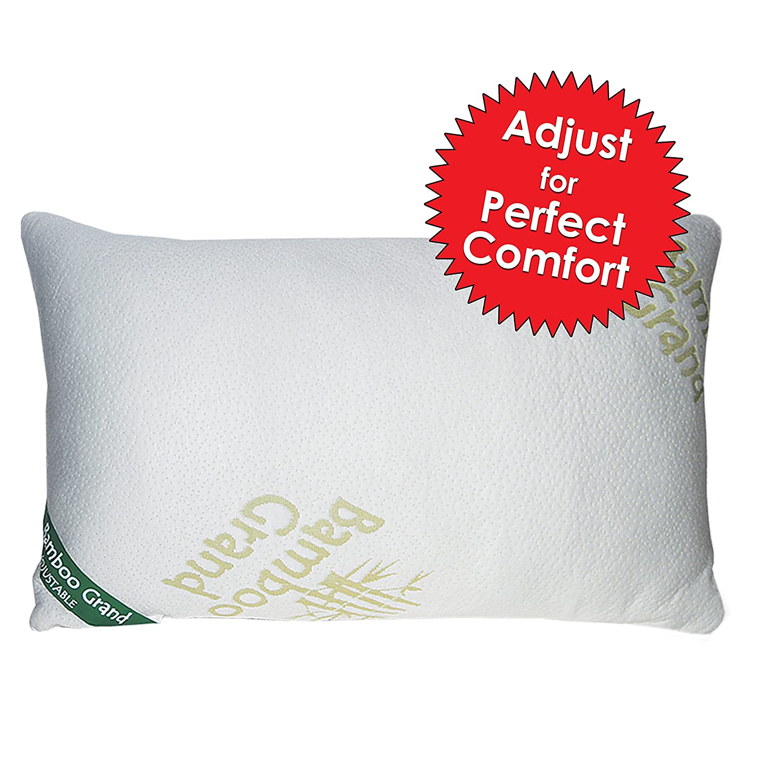 bamboo new and improved adjustable shredded memory foam pillow firm micro ve ebay. Black Bedroom Furniture Sets. Home Design Ideas