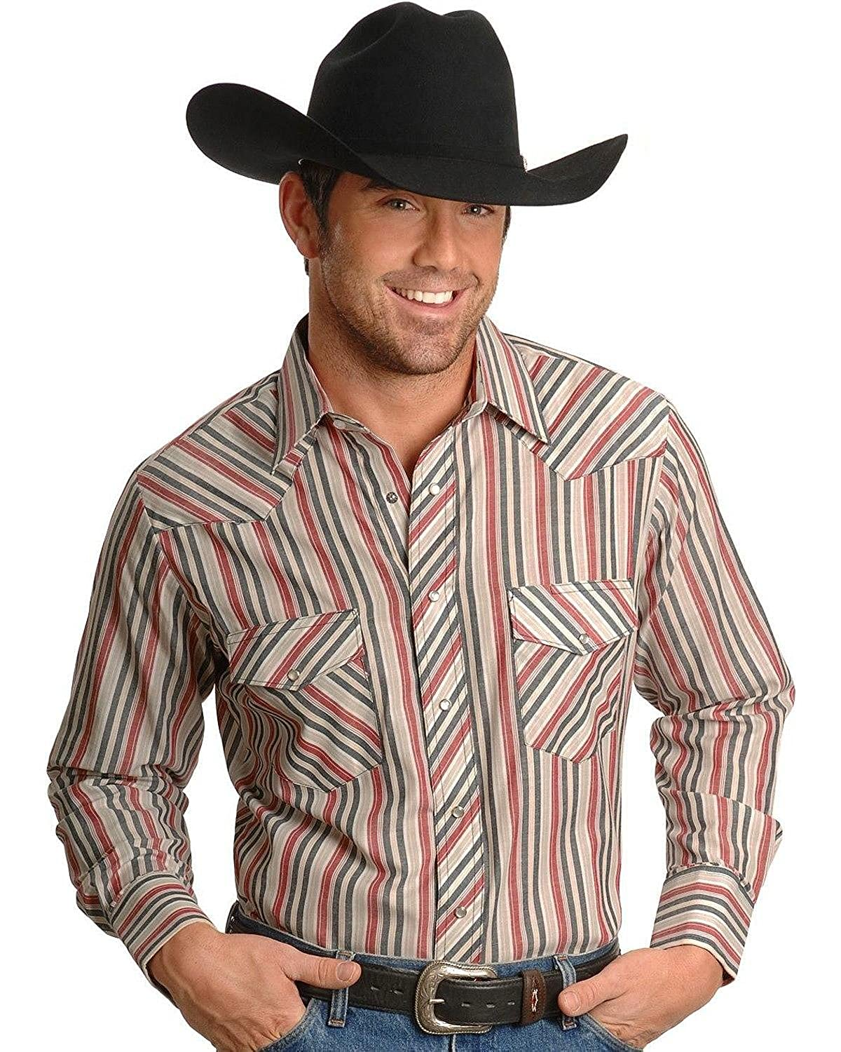 Wrangler Mens Assorted Stripe Or Plaid Classic Long Sleeve Western Shirt Stripe Small
