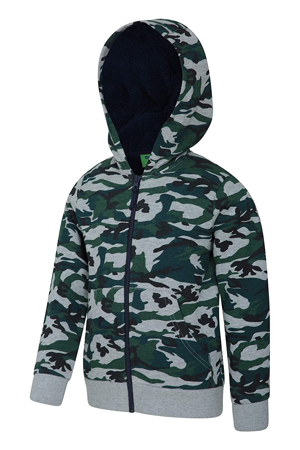 Lightweight Hoodie Mountain Warehouse Camo Fur Lined Hoody Warm /& Cosy Pullover Breathable Sweatshirt Travelling for Walking