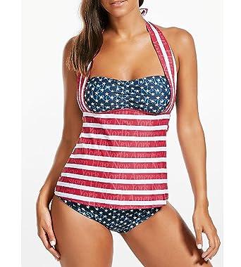 f2ae7f8ca4f VMANNER Halter Push Up Printed Ruched Bandeau Tankini Top USA Flag Bikini  Beach Swimwear