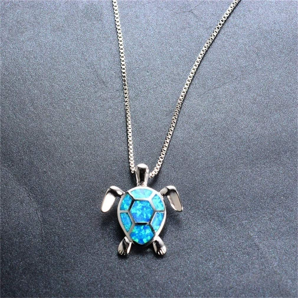 GUAngqi Green Turtle Shape Pendant Necklace Cubic Zirconia Opal Pendant Necklace Jewery Necklace Gifts,Blue