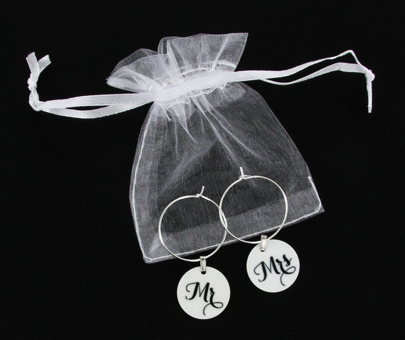 TJ Formal Wine Charms Wedding Gift - Mr. and Mrs. Set - Rings Hoops Tags Shower Favors by TJ Formal (Image #4)