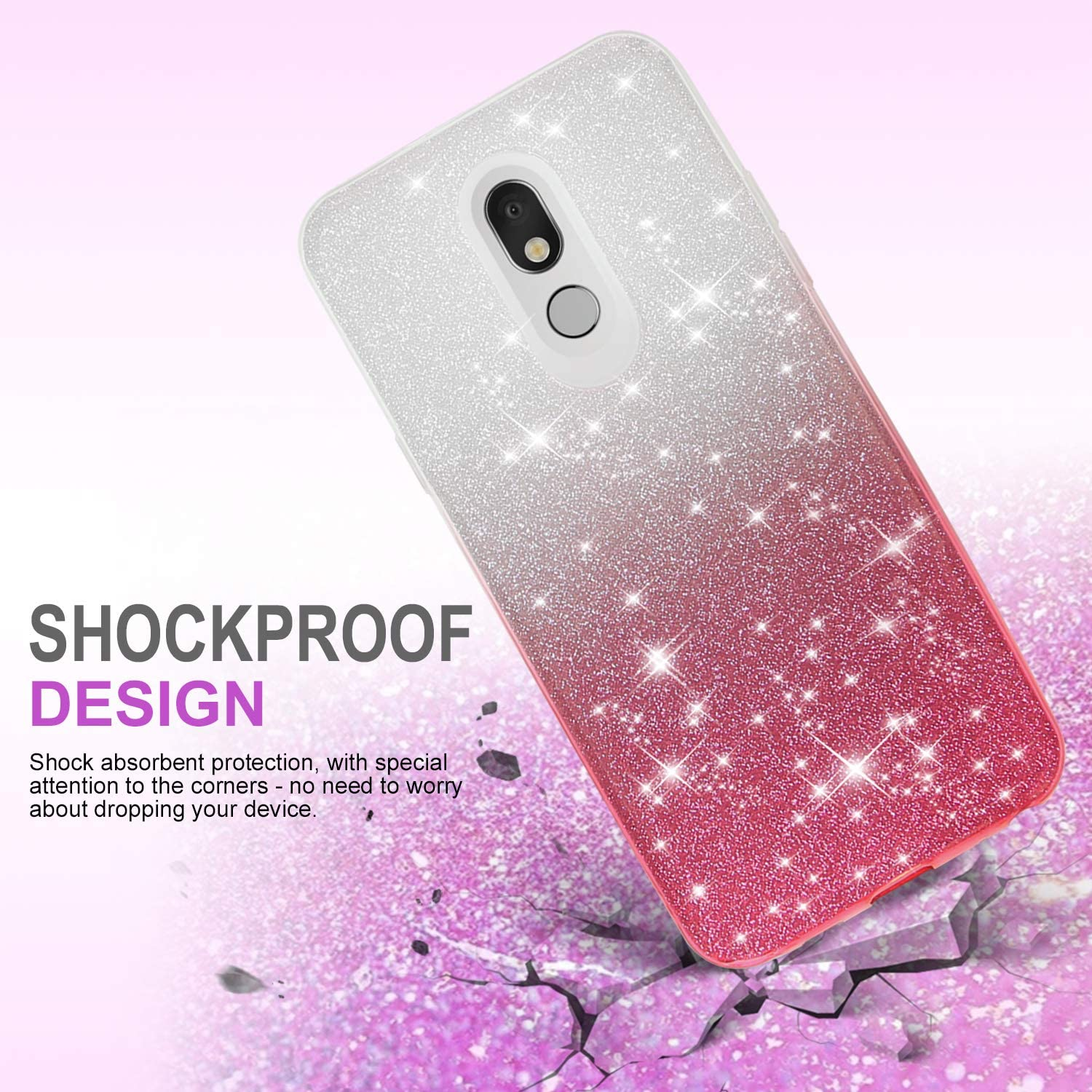 TJS Phone Case for LG Stylo 5//LG Stylo 5 Plus//LG Stylo 5V//LG Stylo 5X with Pink Two Tone Shinny Glitter Hybrid TPU Protection Cover for Girls Women Full Coverage Tempered Glass Screen Protector