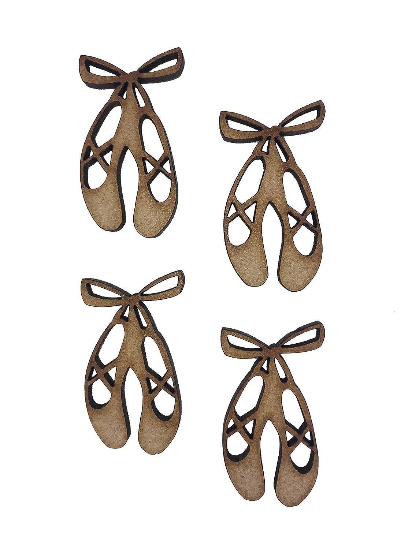 16x Ballerina Shoes 4cm Wood Craft Embelishments Laser Cut Shape MDF