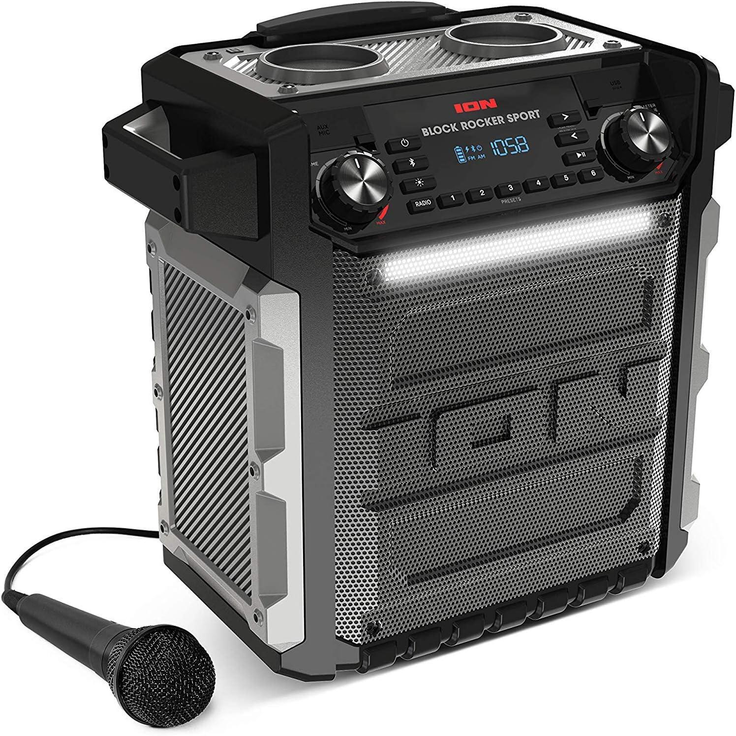 ION Audio Block Rocker Sport - Altavoz Impermeable Ultra-Portátil de 100 Vatios con Batería Recargable de Larga Duración, Bluetooth, Micrófono, Radio Am/FM, Barra de Luces y Entrada Auxiliar
