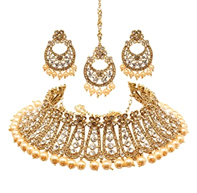 Jewelry & Watches Gold Plated Wedding Indian Jewelry Fashion Traditional Ad Earring Tikka Women
