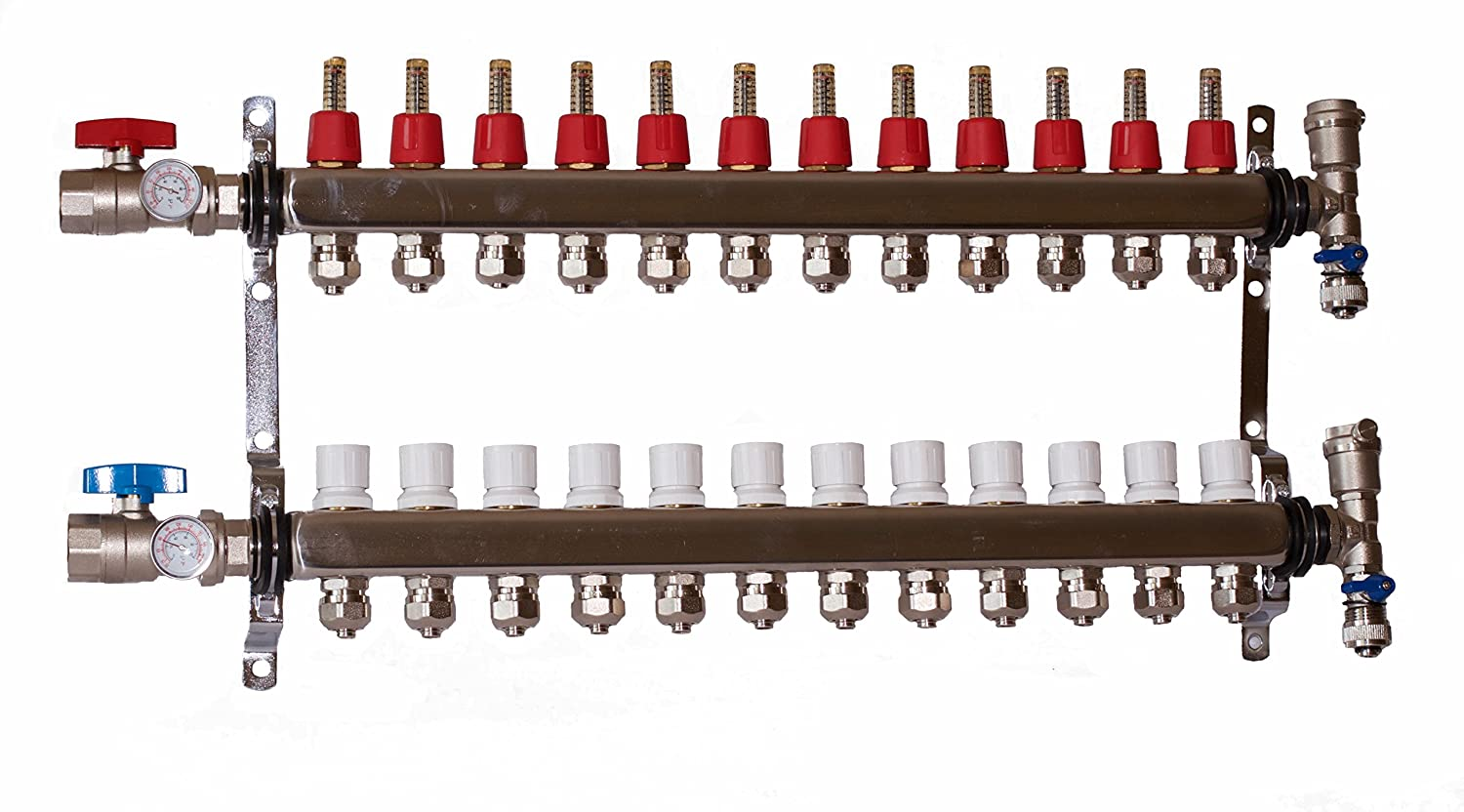 9 LOOP//BRANCH 1//2 PEX MANIFOLD WITH BALL VALVE STAINLESS STEEL RADIANT HEATING