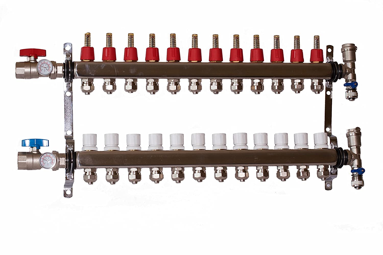 "for 1//2"" PEX Stainless Steel 3-Branch PEX Radiant Floor Heating Manifold Set"
