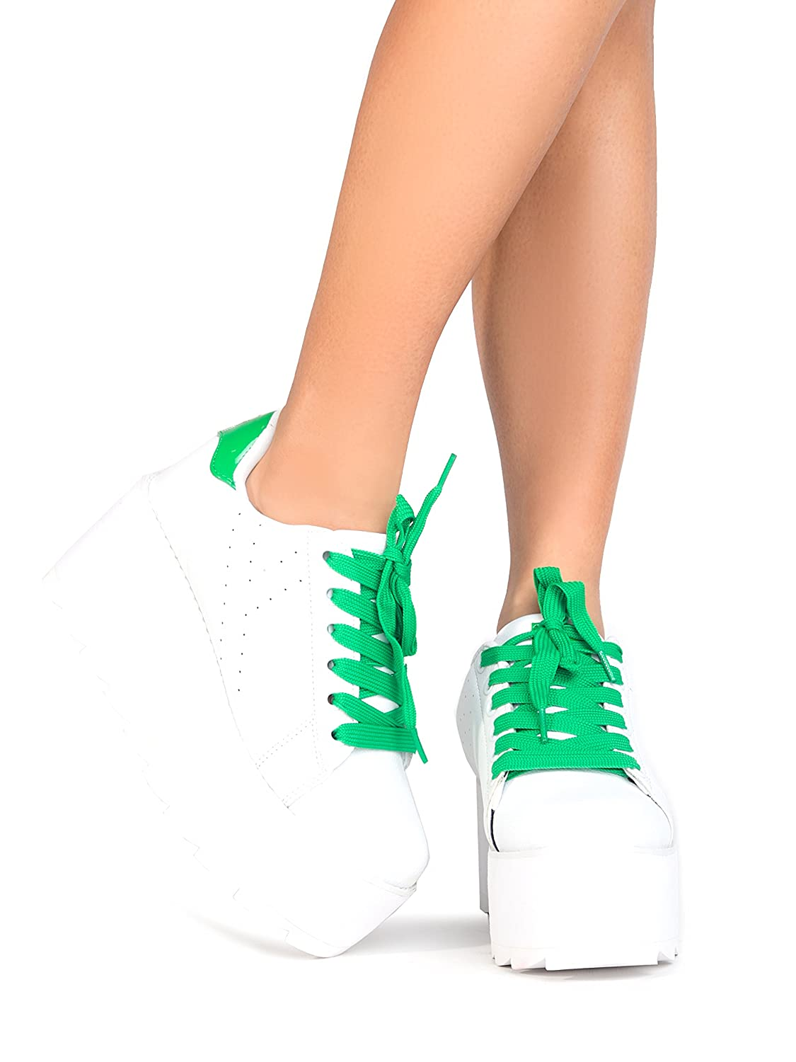 YRU Lala High Casual Platform Sneaker - High Lala Rave Flatform Closed Round Toe Creepers B07BFJWVRY 7 M US|Green White Strype 00fd16