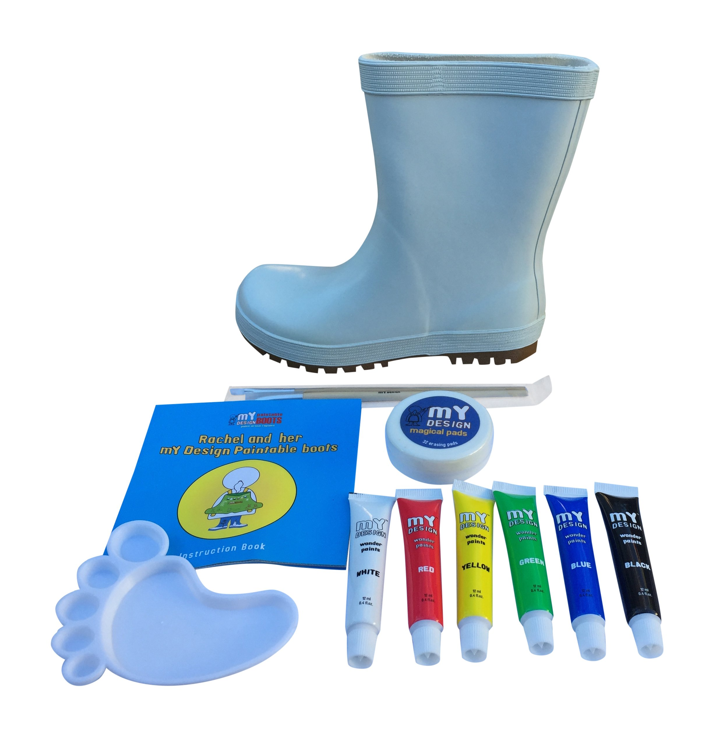 Kids Paintable Rain Boots Shoes Create Your Own Design (11 M US Toddler) White