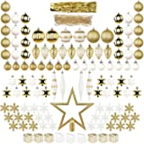 ITART 122ct Christmas Tree Decorations Full Set Christmas Baubles Ornaments Assorted Ornaments Including Topper, Snowflakes, Beads, Tinsel, Mini Gife Boxes, Pine Cones, Teardrop (White Gold)