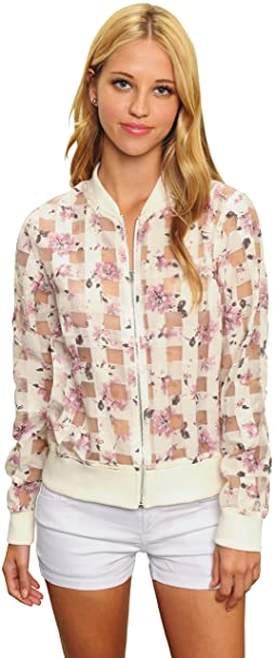 6efa46df8a3b Trend Director Women s Casual Floral Cropped Long Sleeved Zip Up Bomber  Jacket (Small)