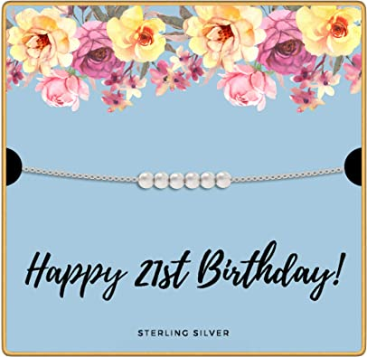 Amazon.com: KEDRIAN Collar de 21 cumpleaños, plata de ley ...