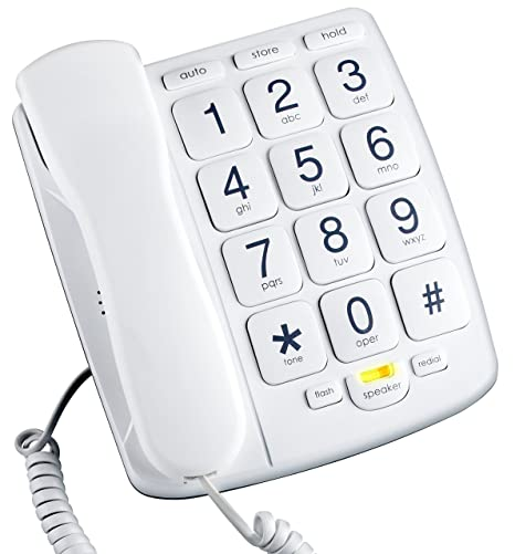 af2ca94532a Amazon.com   Emerson EM300WH Big Button Phone for Elderly Seniors  Improved  Version with Longer Wire  Landline Corded Phone with Speakerphone   Big  Button ...