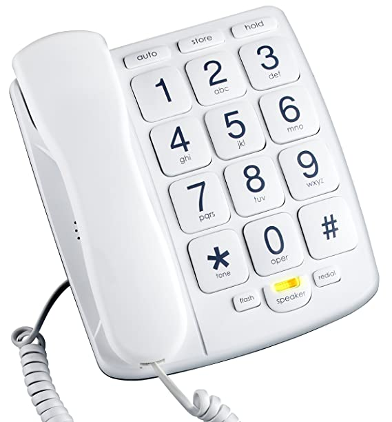 Amazon Com Emerson Em300wh Big Button Phone For Elderly Seniors