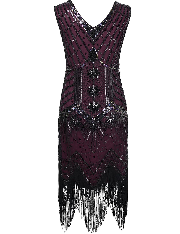 PrettyGuide Women 1920s V Neck Beaded Sequin Art Deco Gatsby ...