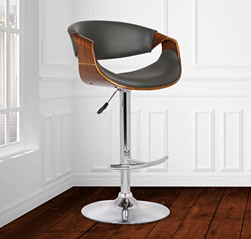 Armen Living Butterfly Swivel Adjustable Barstool in Grey Faux Leather and Walnut Wood Finish
