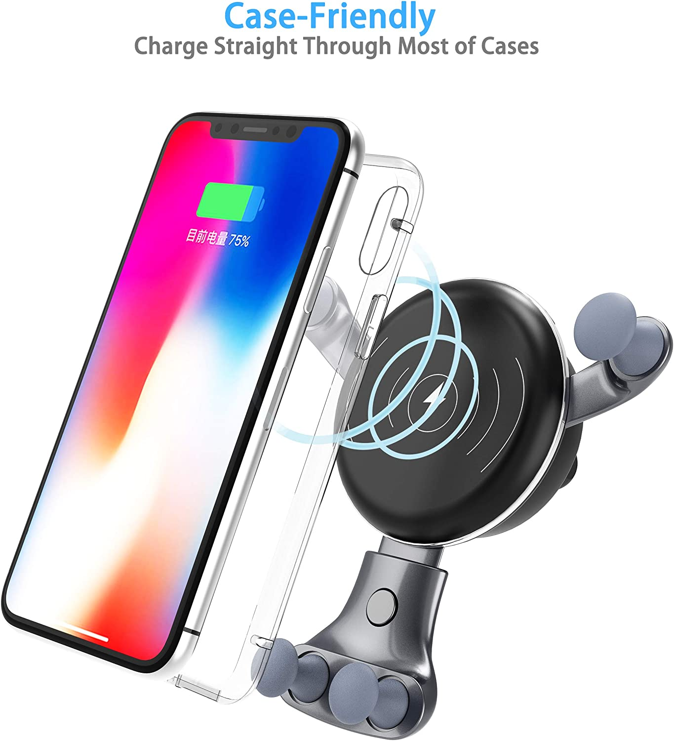 Wireless Car Charger Air Vent Phone Holder 7.5W Compatible for iPhone Xs Max//Xs//XR//X// 8//8+ 10W Compatible for Samsung Galaxy S9//S9+//S8//S8+//S10//S10+//Note 8//9 Fast Car Cradles Mount