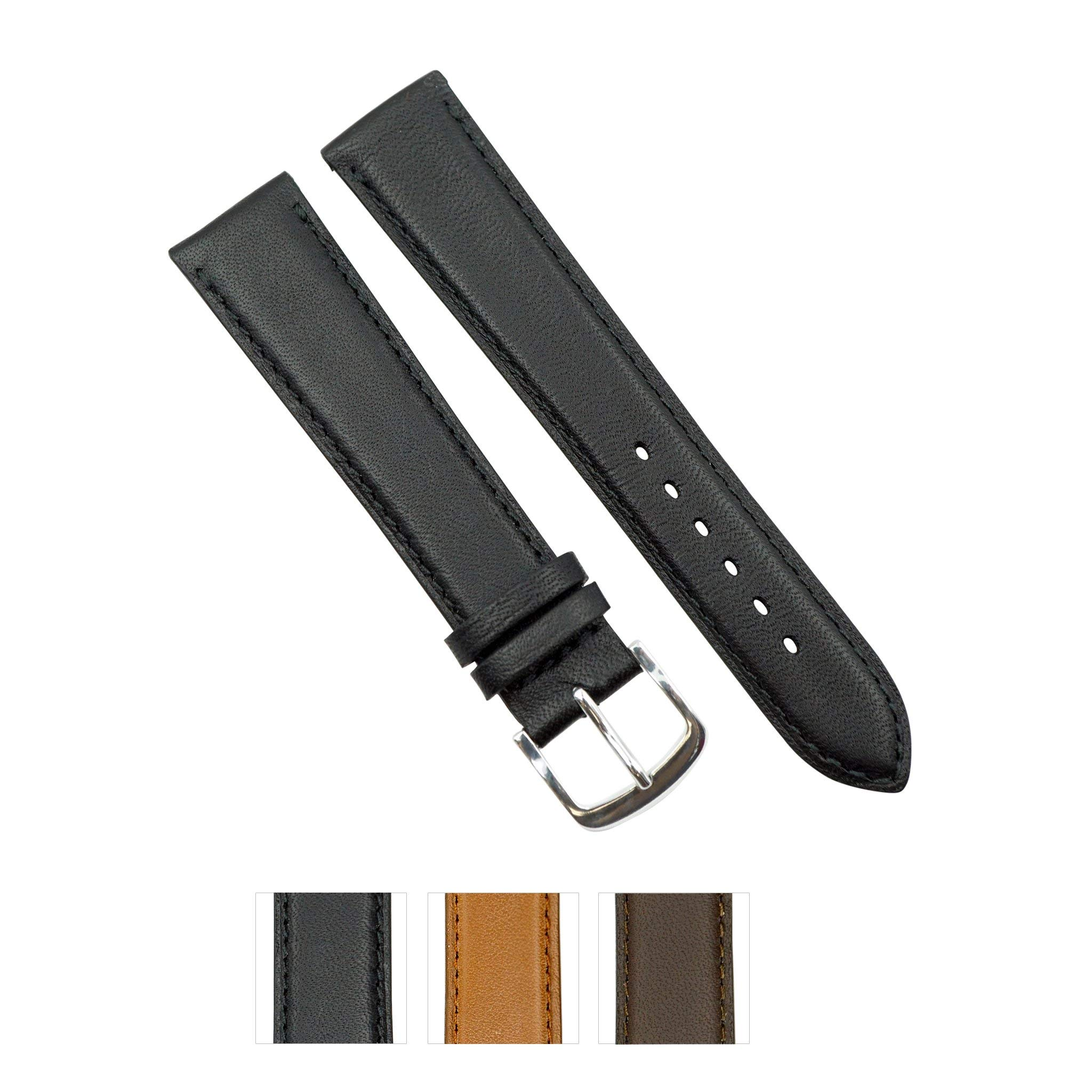 Genuine Smooth Soft Leather Handmade in France -Black, Brown and Tan in Sizes (9mm - 26mm)