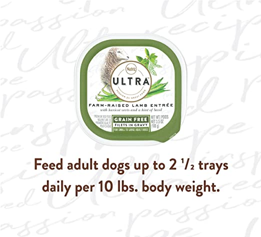 Amazon.com : Nutro Ultra Grain Free Wet Dog Food Filets In Gravy Farm-Raised Lamb Entrée With Haricot Verts And A Hint Of Basil, (24) 3.5 Oz. Trays : Pet ...