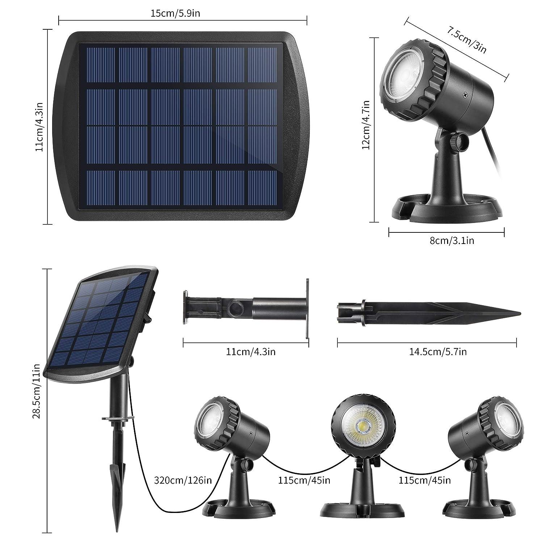 Auto On//Off paquete de 2 Solares Luces Exterior LED IP68 impermeable L/ámpara Solar para piscina iluminaci/ón de jard/ín Ankway Luces solares focos para estanques aire libre blanca