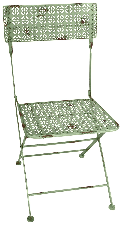 Esschert Design - Sedia Bistro da Giardino, Stile Vintage, Pieghevole, con Superficie di Seduta Rettangolare, ca. 44 x 50 x 88 cm