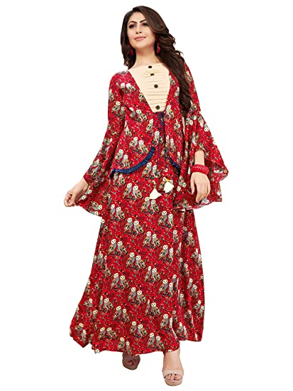 cb7daba96 FASHION CARE Present owl Printed Red Color Fabric Rayon Cotton Kurti for  Women s in Ethnic wear  Amazon.in  Clothing   Accessories